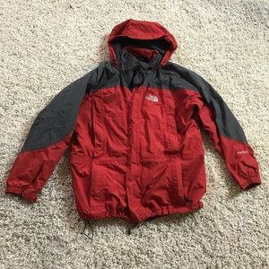 Red and Grey North Face Jacket Men's Large